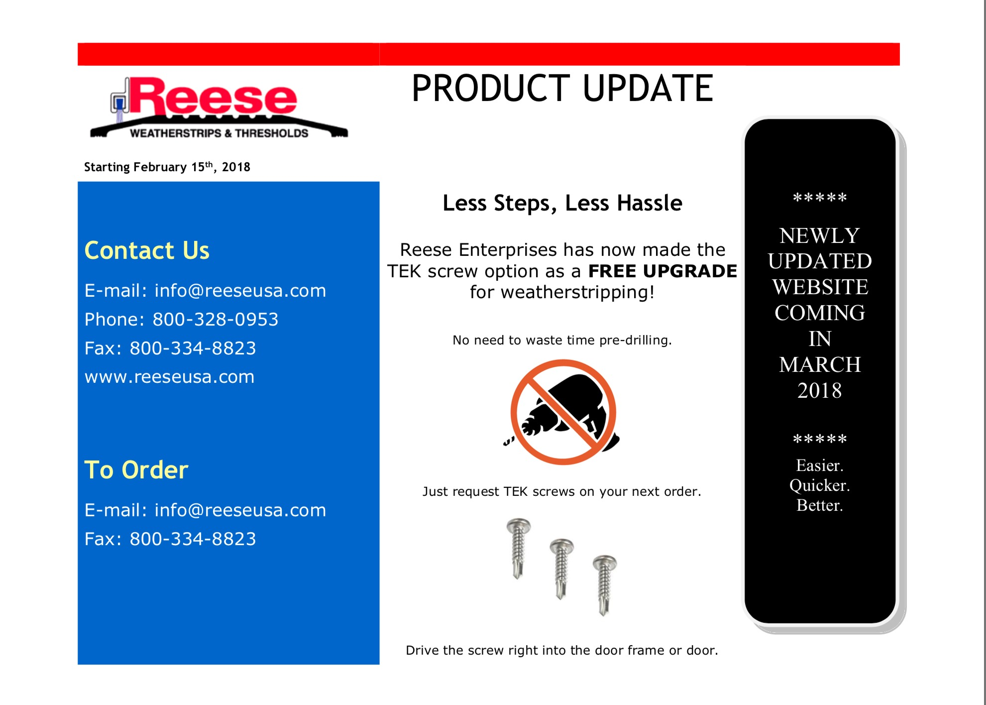 Reese Product Announcement